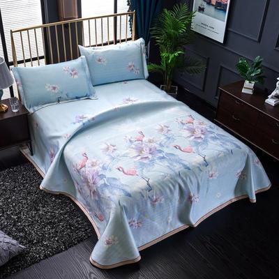 加厚600D冰丝席床单款三件套 可水洗机洗数码印花提花凉席床单款冰丝席三件套 250*250冰丝席床单三件套 曼舞花间