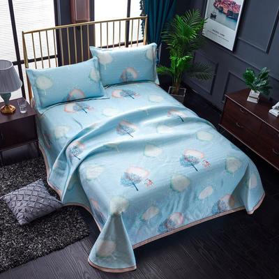 加厚600D冰丝席床单款三件套 可水洗机洗数码印花提花凉席床单款冰丝席三件套 250*250冰丝席床单三件套 清新自然