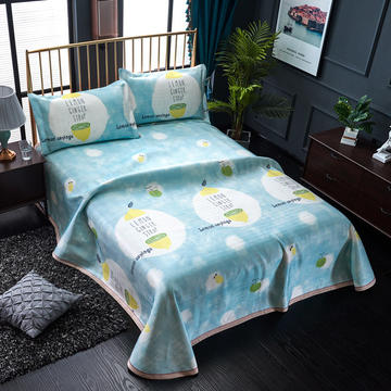 加厚600D冰丝席床单款三件套 可水洗机洗数码印花提花凉席床单款冰丝席三件套