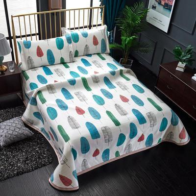 加厚600D冰丝席床单款三件套 可水洗机洗数码印花提花凉席床单款冰丝席三件套 250*250冰丝席床单三件套 羽叶