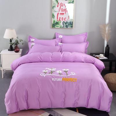 2020新款-13372全棉毛巾绣四件套 纯棉绣花四件套全棉绣花四件套床上用品田园风刺绣 1.5m(5英尺)床 夏花绽放浅紫