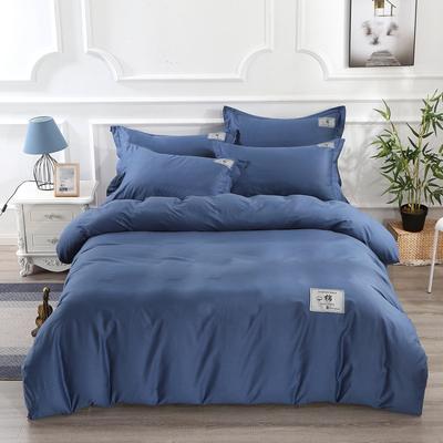 2020新款-纯棉斜纹13372全棉纯色四件套贴布标款 纯棉斜纹素色简约风床上用品 1.5m(5英尺)床 藏青