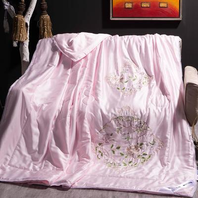 2020新款-80天丝绣花蕾丝夏被 80支全花边韩版刺绣棉绗缝夏凉被超60支 200X230cm80天丝单夏被 粉色