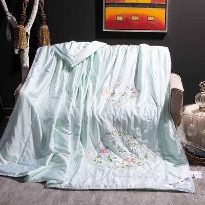 2020新款-80天丝绣花蕾丝夏被 80支全花边韩版刺绣棉绗缝夏凉被超60支 200X230cm80天丝单夏被 绿色