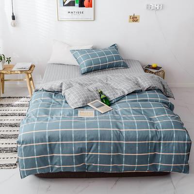 【总】2020新花型 全棉窄幅学生床单人床三件套 宿舍全棉三件套纯棉三件套 1.2m(4英尺)床 离歌蓝