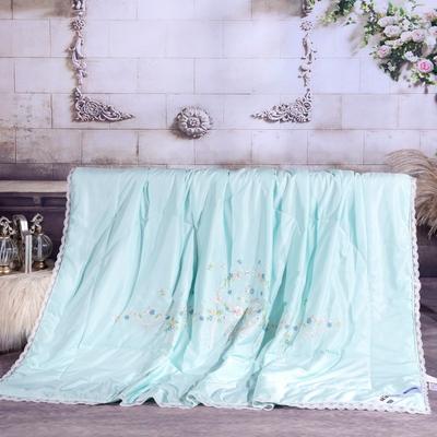 2020-40天丝绣花蕾丝夏被 40S40支天丝夏被花边刺绣棉绗缝夏凉被空调被 200X230cm40天丝单夏被 夏日初遇绿色