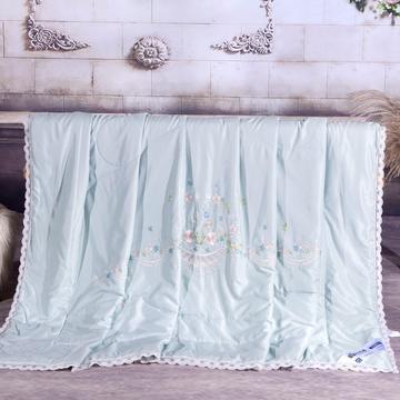 2020-40天丝绣花蕾丝夏被 40S40支天丝夏被花边刺绣棉绗缝夏凉被空调被