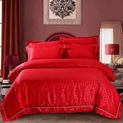 玫瑰情缘大红 2020新款-60S支天丝提花四件套 婚庆全棉纯棉贡缎提花13372天丝 床单款1.5m(5英尺)床 玫瑰之恋大红