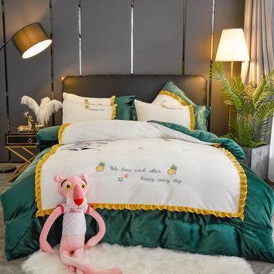 2019款-网红款菠萝蜜加厚双面水晶绒刺绣四件套 保暖高克重绣花水晶绒四件套 床单款1.8m(6英尺)床 菠萝蜜-墨子绿