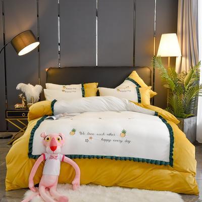 2019款-网红款菠萝蜜加厚双面水晶绒刺绣四件套 保暖高克重绣花水晶绒四件套 床单款1.8m(6英尺)床 菠萝蜜-柠檬黄