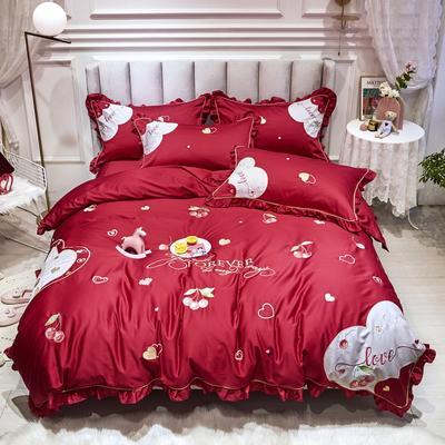 2020新款-纯棉公主风80支韩版绣花四件套 80S刺绣全棉长绒棉四件套超60S支 床单款1.5m(5英尺)床 可爱樱桃玛瑙红