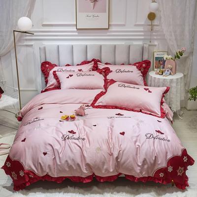 2020新款-纯棉公主风80支韩版绣花四件套 80S刺绣全棉长绒棉四件套超60S支 床单款1.8m(6英尺)床 小笔芯红
