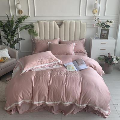 2020新款-80支兰精天丝绣花四件套 床单款1.5m(5英尺)床 圣比亚粉玉