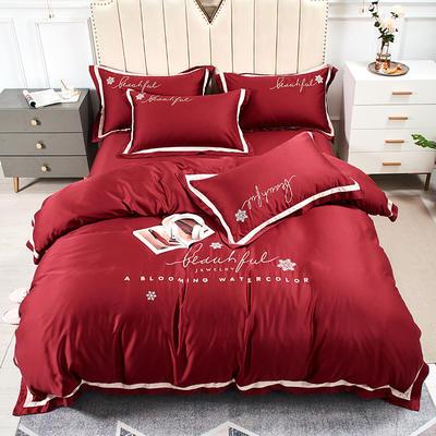 2020新款-80支兰精天丝绣花四件套 床单款1.5m(5英尺)床 圣比亚酒红