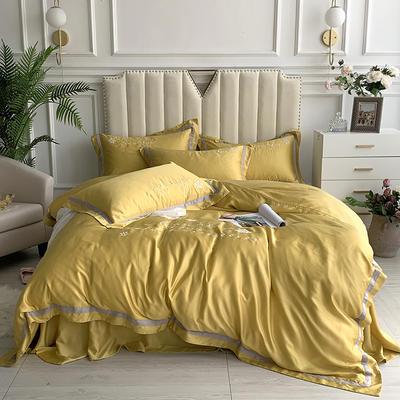 2020新款-80支兰精天丝绣花四件套 床单款1.5m(5英尺)床 圣比亚桔黄