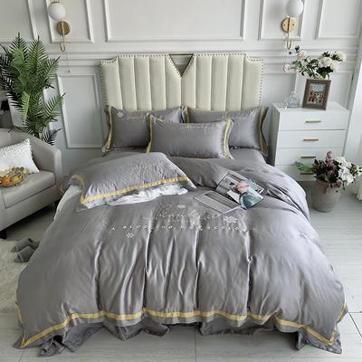 2020新款-80支兰精天丝绣花四件套 床单款1.5m(5英尺)床 圣比亚浅灰