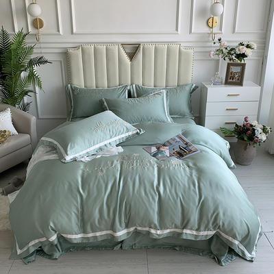 2020新款-80支兰精天丝绣花四件套 床单款1.5m(5英尺)床 圣比亚天蓝