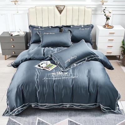 2020新款-刺绣花边80支兰精天丝绣花四件套 床单款1.5m(5英尺)床 时尚格调-深蓝