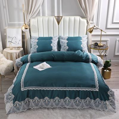 2021新款-全棉60S长绒棉蕾丝四件套 欧式韩版花边纯棉60支贡缎长绒棉四件套 床单款四件套1.8m(6英尺)床 艾丽莎-宝石蓝