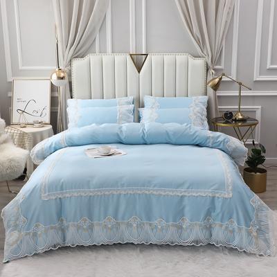 2020新款-全棉60S长绒棉蕾丝四件套 欧式韩版花边纯棉60支贡缎长绒棉四件套 床单款四件套1.5m(5英尺)床 艾丽莎-浅蓝