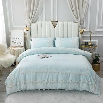 2020新款-全棉60S长绒棉蕾丝四件套 欧式韩版花边纯棉60支贡缎长绒棉四件套 床单款四件套1.5m(5英尺)床 艾丽莎-浅绿