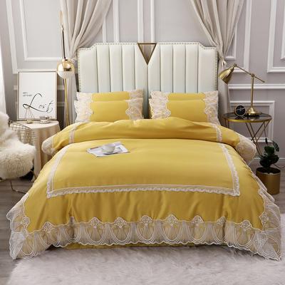 2020新款-全棉60S长绒棉蕾丝四件套 欧式韩版花边纯棉60支贡缎长绒棉四件套 床单款四件套1.5m(5英尺)床 艾丽莎-玉米黄