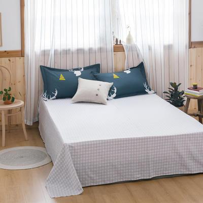 2020新款-全棉12868多规单床单 半活性印花纯棉斜纹12868单品床单 160X230cm 鹿先生