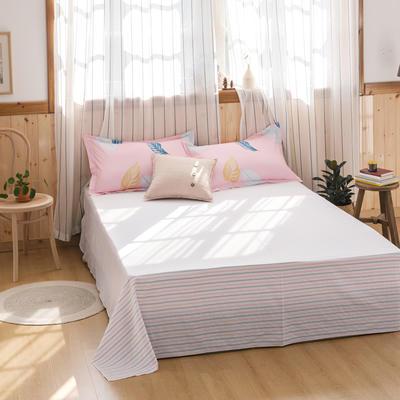 2020新款-全棉12868多规单床单 半活性印花纯棉斜纹12868单品床单 160X230cm 叶羽相思粉