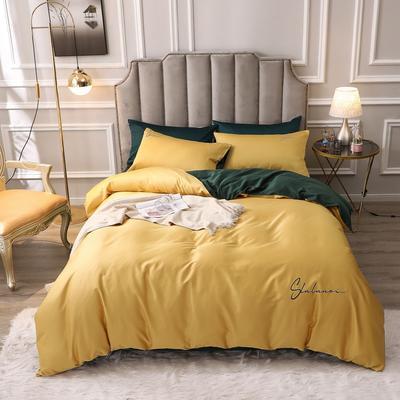 2020新款-全棉60S贡缎长绒棉绣花四件套 纯色纯棉60支刺绣长绒棉四件套素色双拼色 床单款1.5m(5英尺)床 洛拉-黄色