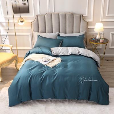 2020新款-全棉60S贡缎长绒棉绣花四件套 纯色纯棉60支刺绣长绒棉四件套素色双拼色 床单款1.5m(5英尺)床 洛拉-宝石蓝