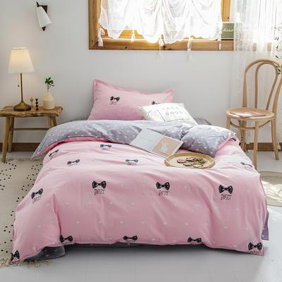 【总】2020新花型 全棉窄幅学生床单人床三件套 宿舍全棉三件套纯棉三件套 1.2m(4英尺)床 绅士派对粉
