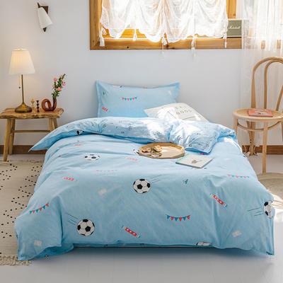 【总】2020新花型 全棉窄幅学生床单人床三件套 宿舍全棉三件套纯棉三件套 1.2m(4英尺)床 足球宝贝蓝