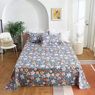 2020新款-田园风全棉12868多规格单床单 纯棉床单全棉床单斜纹印花 160*230cm 初夏