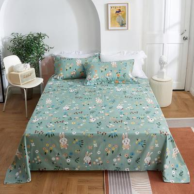 2020新款-田园风全棉12868多规格单床单 纯棉床单全棉床单斜纹印花 160*230cm 梵雅绿