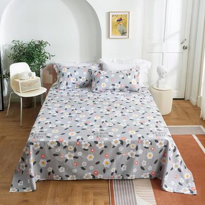 2020新款-田园风全棉12868多规格单床单 纯棉床单全棉床单斜纹印花 160*230cm 花之物语灰