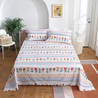 2020新款-田园风全棉12868多规格单床单 纯棉床单全棉床单斜纹印花 160*230cm 美妙之夏