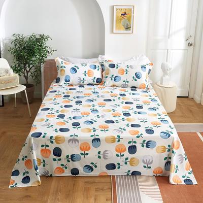 2020新款-田园风全棉12868多规格单床单 纯棉床单全棉床单斜纹印花 160*230cm 梦想秀米白