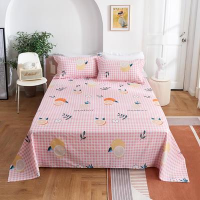 2020新款-田园风全棉12868多规格单床单 纯棉床单全棉床单斜纹印花 160*230cm 蜜果粉