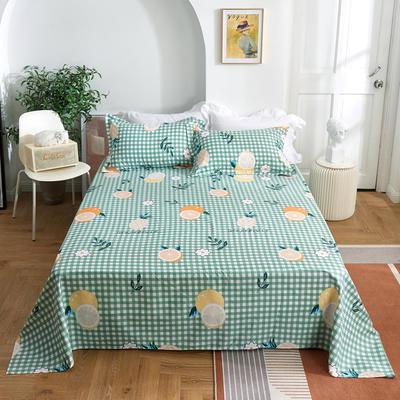 2020新款-田园风全棉12868多规格单床单 纯棉床单全棉床单斜纹印花 160*230cm 蜜果绿
