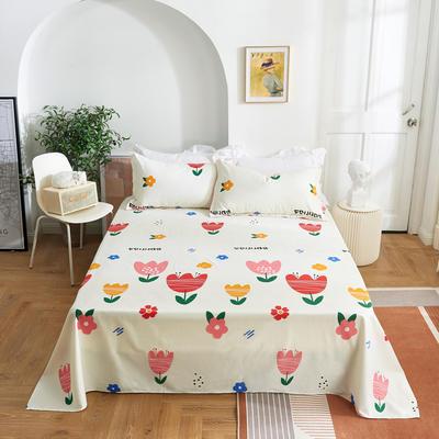 2020新款-田园风全棉12868多规格单床单 纯棉床单全棉床单斜纹印花 160*230cm 清丽花香米
