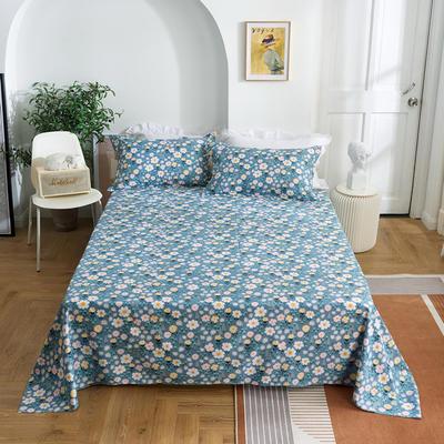 2020新款-田园风全棉12868多规格单床单 纯棉床单全棉床单斜纹印花 160*230cm 晴轩蓝