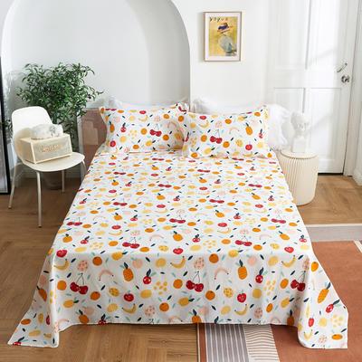 2020新款-田园风全棉12868多规格单床单 纯棉床单全棉床单斜纹印花 160*230cm 水果派对