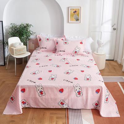 2020新款-田园风全棉12868多规格单床单 纯棉床单全棉床单斜纹印花 160*230cm 幸运兔粉