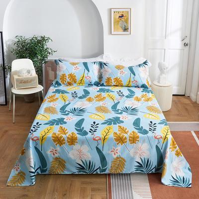 2020新款-田园风全棉12868多规格单床单 纯棉床单全棉床单斜纹印花 160*230cm 叶语浪漫兰