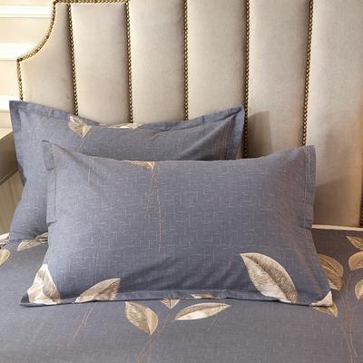 2020新款-全棉活性磨毛多规格单枕套 冬季保暖加厚纯棉磨毛印花全棉磨毛枕套单品枕套 枕套48X74cm/对 自由风-灰