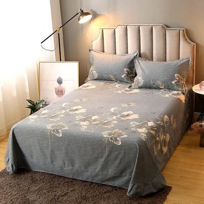 2020新款-全棉活性磨毛多规格单床单 冬季保暖加厚纯棉磨毛印花全棉磨毛床单单品床单被单 200X230直角床单 金粉世家-灰