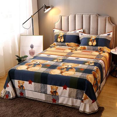 2020新款-全棉活性磨毛多规格单床单 冬季保暖加厚纯棉磨毛印花全棉磨毛床单单品床单被单 200X230直角床单 可爱熊