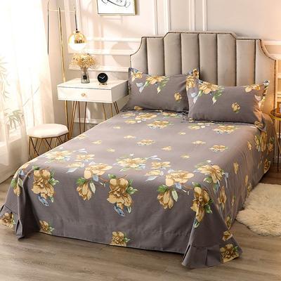 2020新款-全棉活性磨毛多规格单床单 冬季保暖加厚纯棉磨毛印花全棉磨毛床单单品床单被单 200X230直角床单 墨绿花香