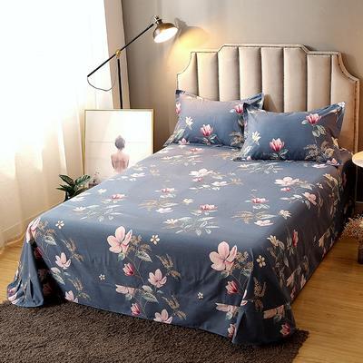 2020新款-全棉活性磨毛多规格单床单 冬季保暖加厚纯棉磨毛印花全棉磨毛床单单品床单被单 200X230直角床单 雅致风情