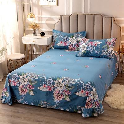 2020新款-全棉活性磨毛多规格单床单 冬季保暖加厚纯棉磨毛印花全棉磨毛床单单品床单被单 200X230直角床单 夜来香